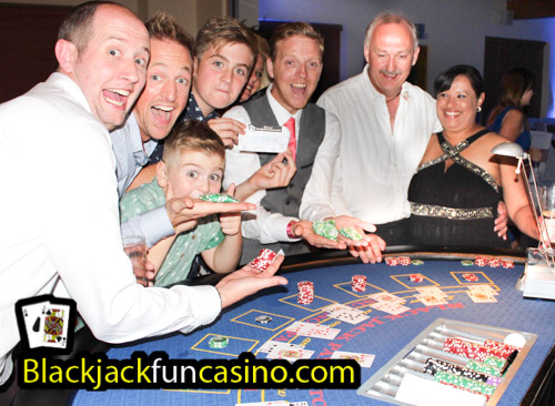 Family having fun at the casino tables
