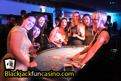 Fun at the casino tables at a student party