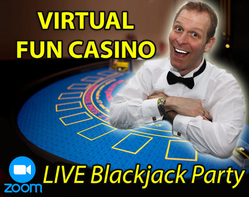 Virtual Fun Casino Party with Blackjack table